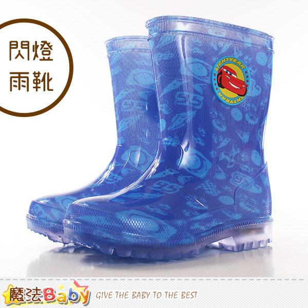 兒童雨鞋 迪士尼閃電麥坤正版鞋底閃燈雨靴 魔法Baby~sh9977