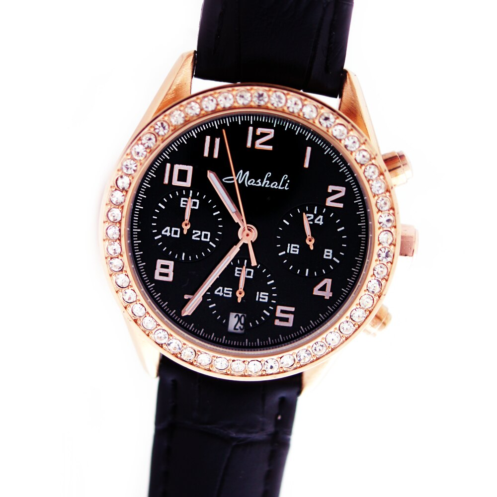 Mashali 88091 時尚滾鑽錶盤多功能真三眼皮帶錶 0
