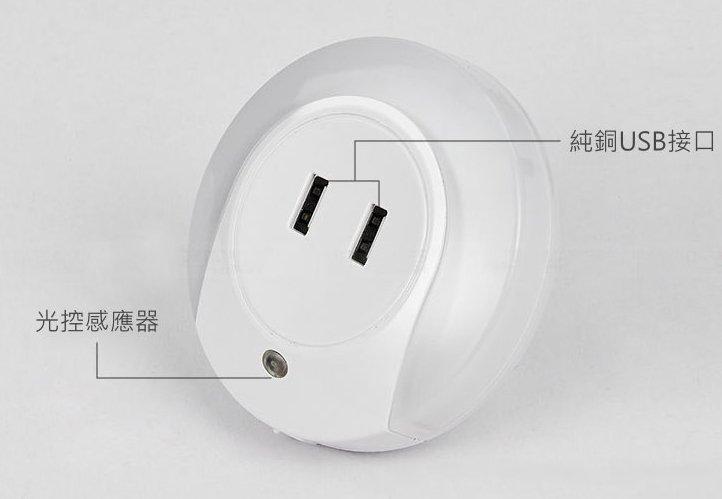 【DC通訊】智能光控充電器 2A快充 雙USB充電 LED夜燈 光控感應 床頭燈 小夜燈 感應燈