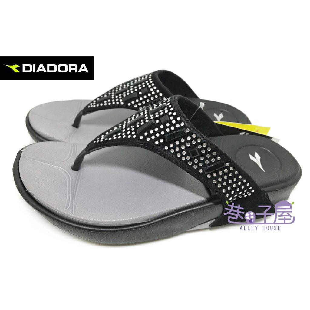 【巷子屋】義大利國寶鞋-DIADORA迪亞多納 女款亮鑽輕量休閒夾腳拖鞋 [3270] 黑 超值價$198