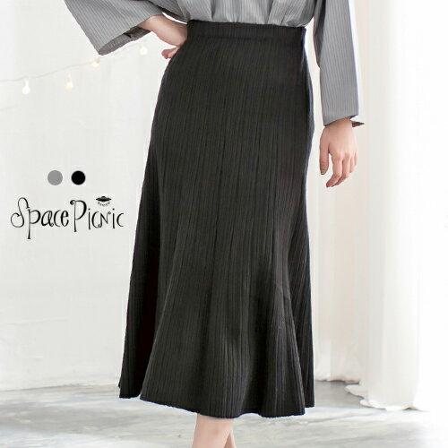 長裙 Space Picnic, 現貨.細直條壓紋設計腰鬆緊長裙【001747】