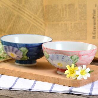 日本製美濃燒山茶花手繪陶瓷碗 ( 5入 )飯碗 / 餐碗 / 碗