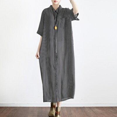 連身長裙寬版連衣裙-時尚清新條紋冰絲女上衣2色73sm1【獨家進口】【米蘭精品】