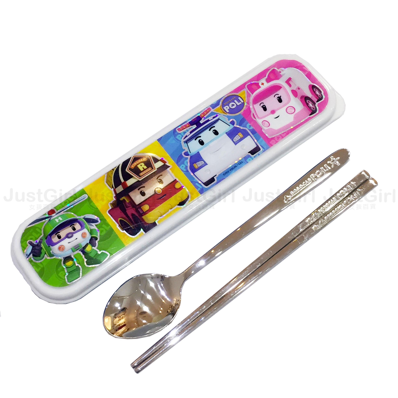 POLI 波力 LILFANT 湯匙 扁筷子 收納盒 304不鏽鋼餐具組 餐具 韓國製造進口 * JustGirl *