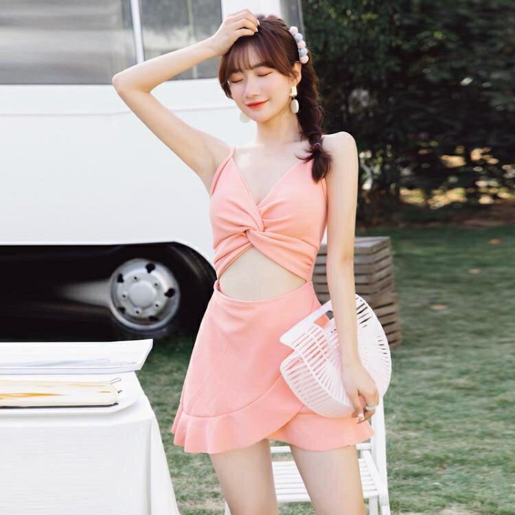 泳衣 泳衣女溫泉小胸聚攏遮肚顯瘦性感韓國保守連體平角 ins風游泳衣 概念3C