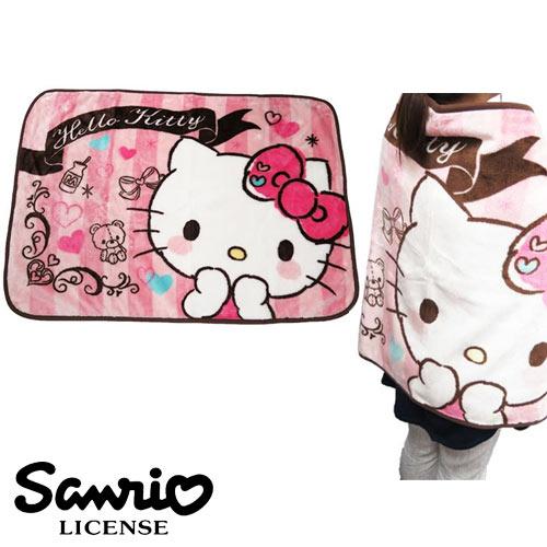 粉紅條紋款【日本進口正版】凱蒂貓 Hello Kitty 絨毛 披肩 毛毯 毯子 三麗鷗 Sanrio - 417833