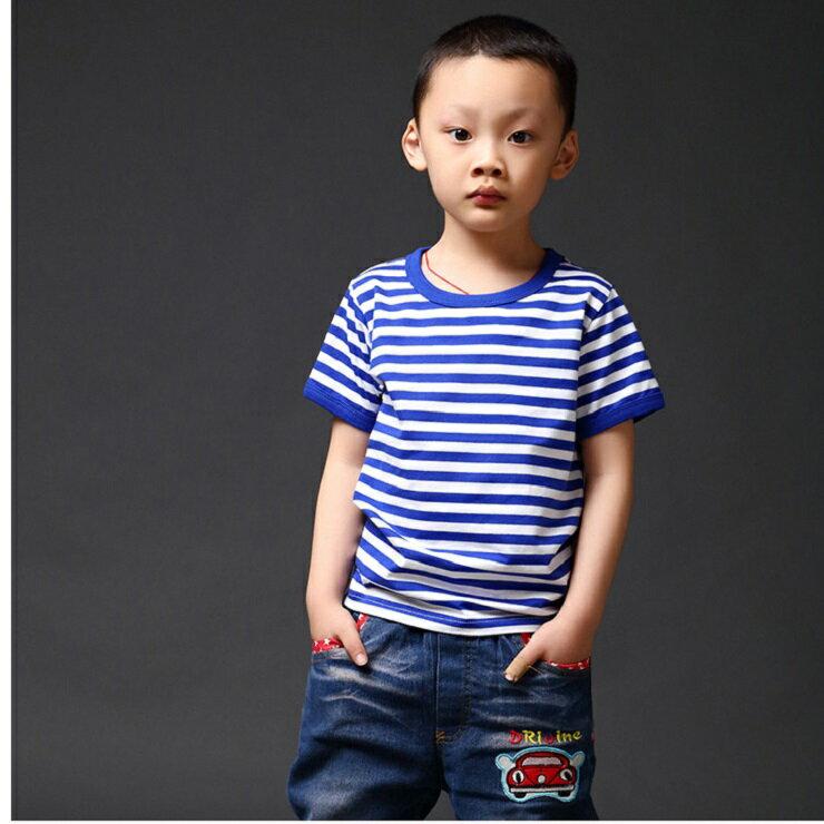 2017年新款夏裝 短袖T恤 上衣 男生 女生 兒童純棉 線條T恤 特價商品