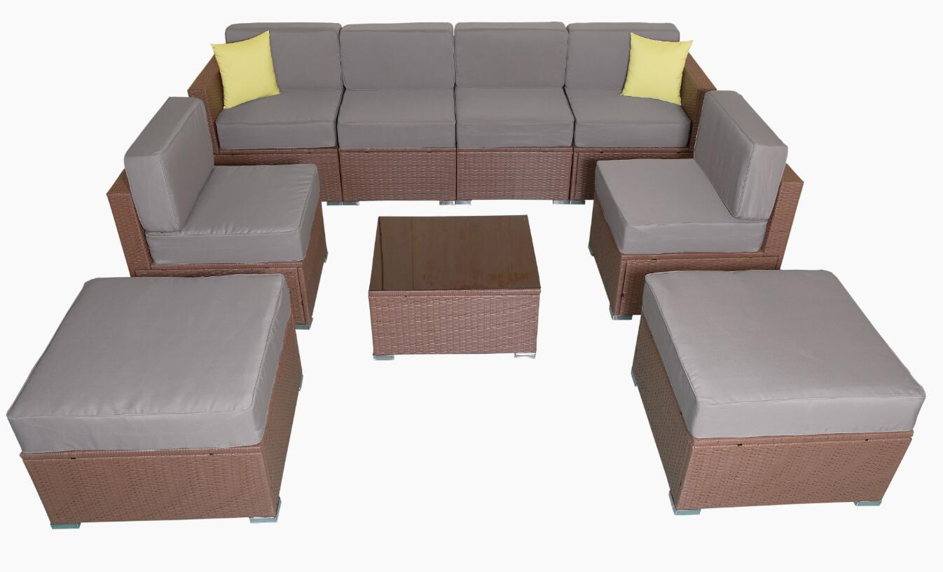 MCombo Patio Furniture Sectional Sets Wicker Rattan Couch Sofa Chair Luxury  Big Size 9 PC 0