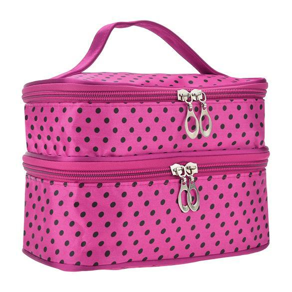 Portable Double-Deck Toiletry Bag Dot Pattern Makeup Bag 4
