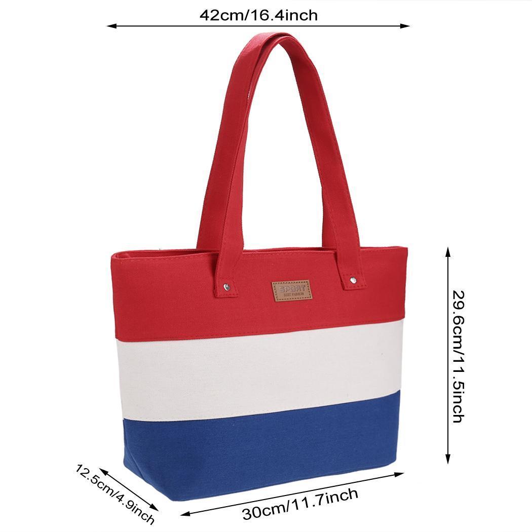 Women Large Capcity CanvasStripe Contrast Color Handbag 5