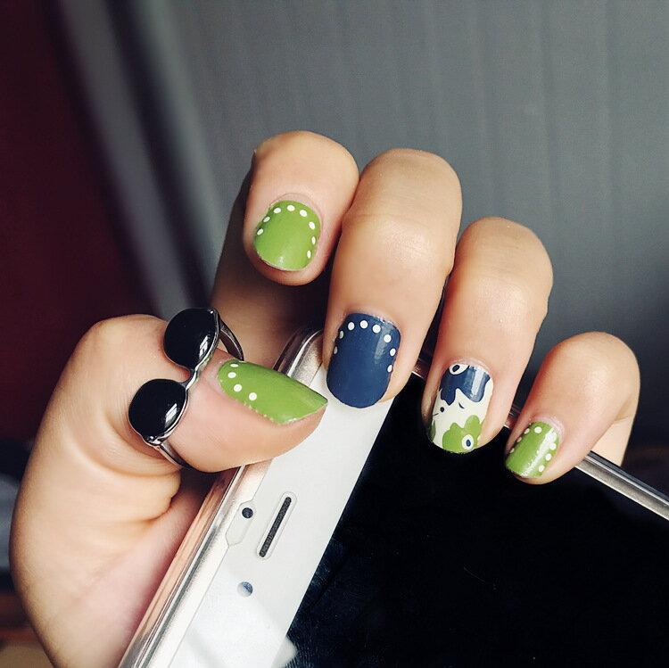現貨~ JH-024 【14貼美甲貼紙】藍綠 防水環保全貼手指甲孕婦甲油膜貼片
