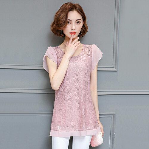 蕾絲雪紡上衣(6色M~4XL)【OREAD】 1
