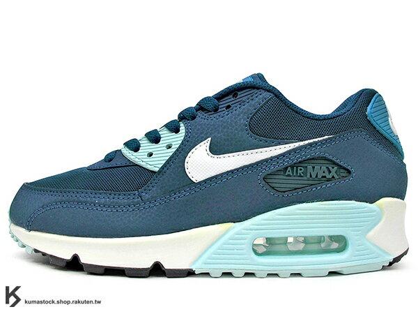 SLY 限定 2015 NSW 經典復刻鞋款 人氣商品 NIKE WMNS AIR MAX 90 ESSENTIAL 女鞋 湖水藍 藍白 皮革 尼龍網布 (616730-400) !