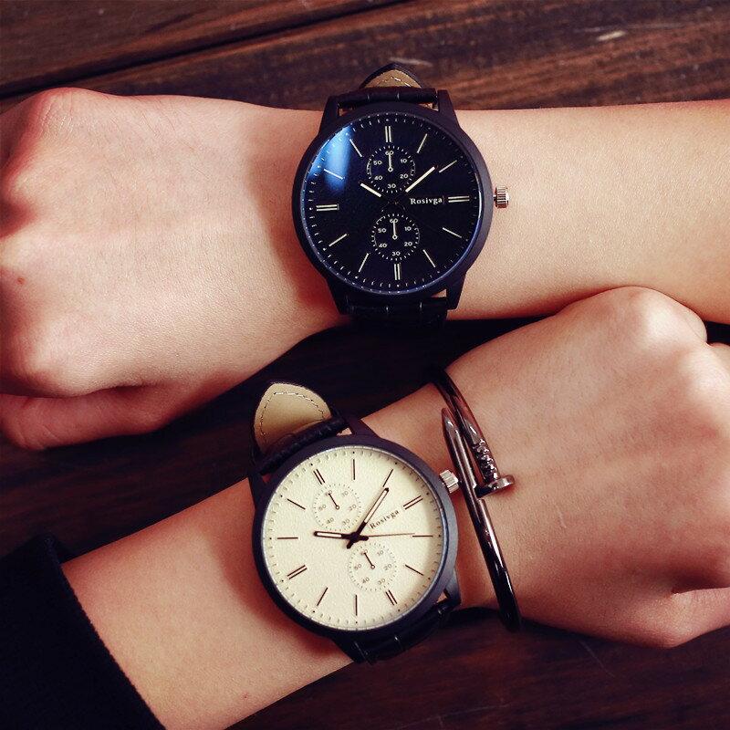 簡約鱷魚紋皮革刻度獨立秒針錶 情侶錶