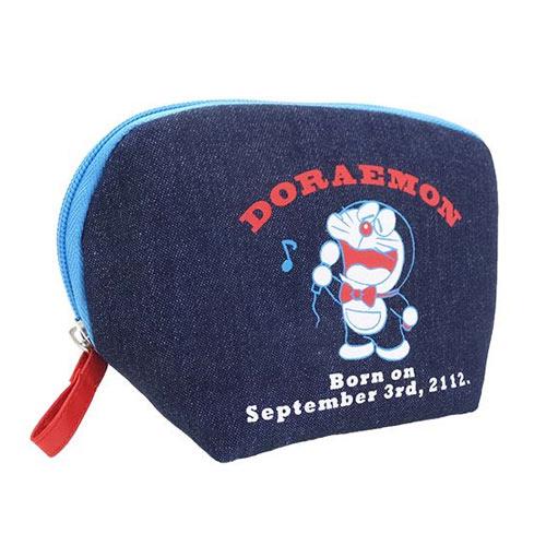 唱歌款【日本進口正版】哆啦a夢 DORAEMON 牛仔 化妝包 收納包 筆袋 小叮噹 - 418304