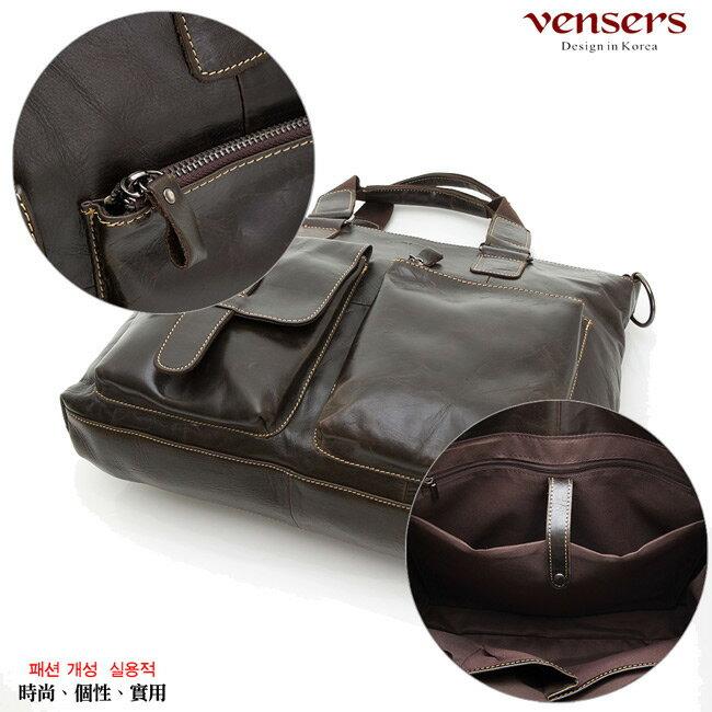 【Vensers】小牛皮潮流個性包~斜肩背包(N026001深色) 5