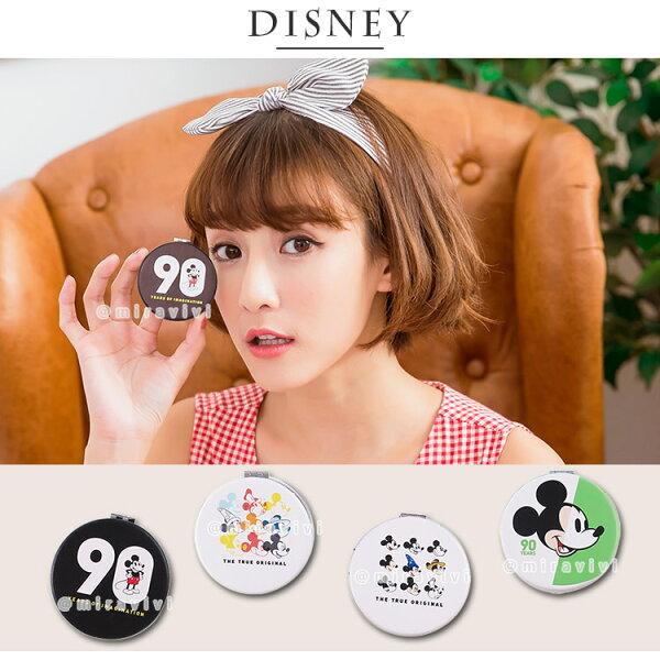 Disney迪士尼米奇90周年皮革彩繪圓型鏡子