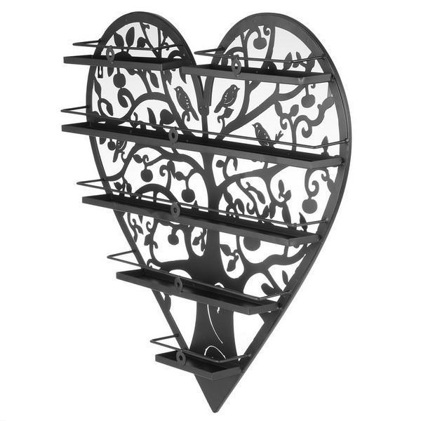 Heart Shape Nail Polish Wall Mount Metal Display Organizer Rack Holder 0