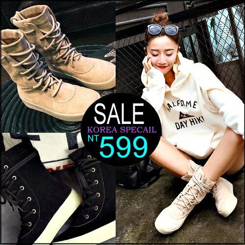 ☆克妹☆現貨+預購【ZT32439】歐美時尚復古馬甲綁帶麂皮革圓頭馬汀靴高幫短靴