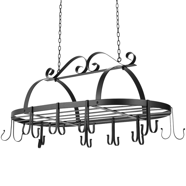 Iron Hanging Pot Holder Kitchen Storage Utility Cookware Hook Rack 2