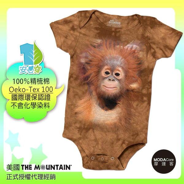 【摩達客】(預購)美國進口TheMountain小紅毛猩猩精梳純棉嬰幼兒短袖包屁衣(國際環保認證天然染料安心穿)