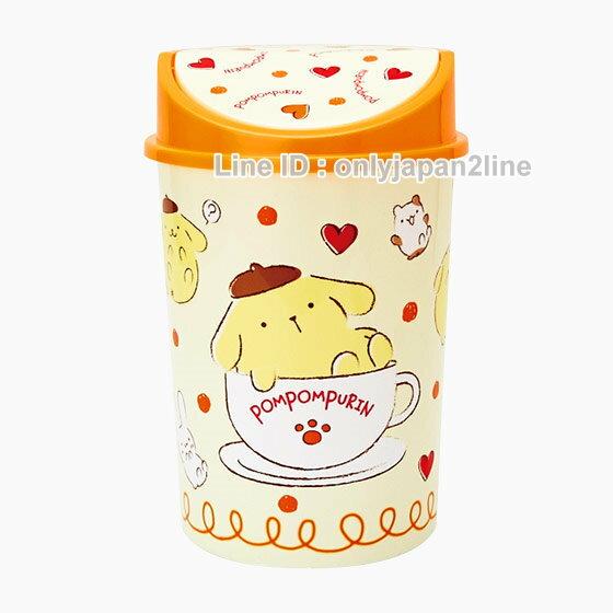 【真愛日本】17010500011掀蓋垃圾筒-PN咖啡杯黃  三麗鷗家族 布丁狗  居家 收納桶 正品