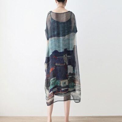 連身長裙寬版連衣裙-輕薄兩件套桑蠶絲繪畫女上衣73sm52【獨家進口】【米蘭精品】 1