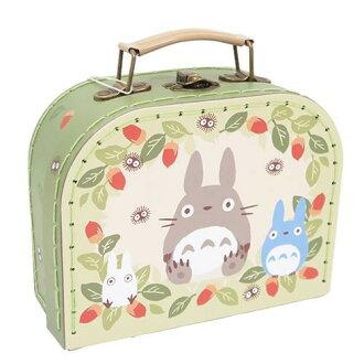 【真愛日本】16041700018縫線手提盒L-灰龍貓綠葉  龍貓 TOTORO 豆豆龍  收納箱 萬用箱 正品 限量 預購