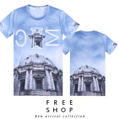Free Shop【QFSLY3377】美式潮流字母星星聖保羅大教堂造型滿版圓領棉質短T短袖上衣潮T