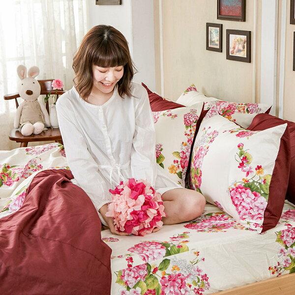 床包兩用被套組雙人特大-100%精梳棉【繡球花語粉】含兩件枕套,花語系列,戀家小舖,台灣製