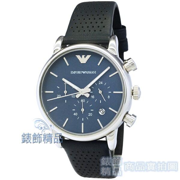 【錶飾精品】ARMANIAR1736亞曼尼三眼計時日期藍面深藍皮帶男錶