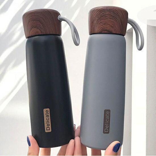【現貨免等】創意簡約木紋保溫杯 保溫瓶 304不鏽鋼材質【HLBOAA20】