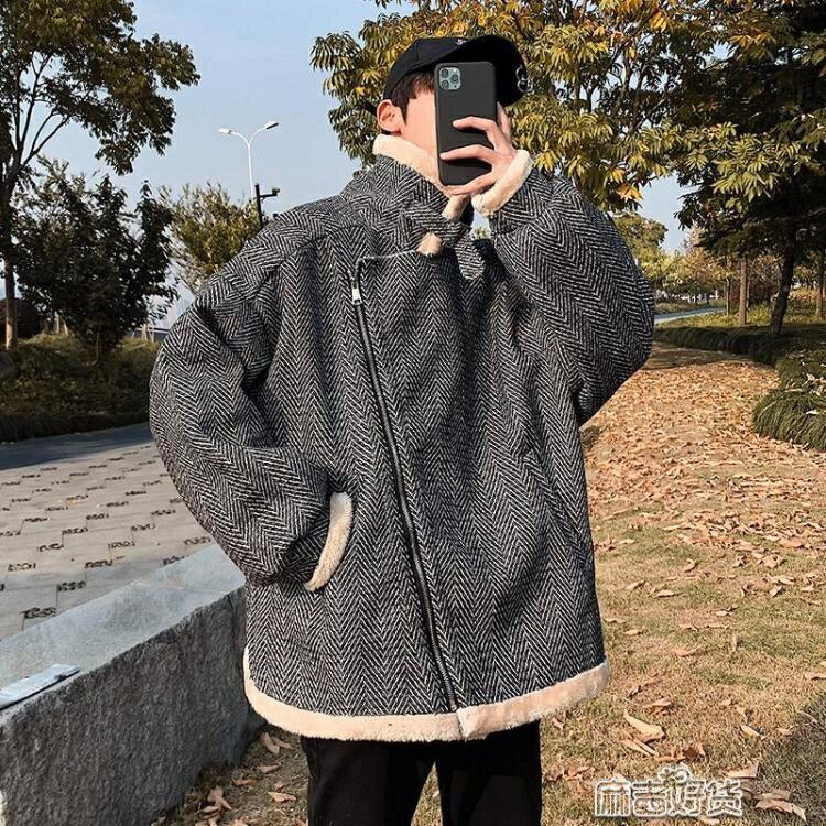 情侶裝羊羔毛棉衣冬季原宿撞色連帽加絨加厚棉服男學生外套潮