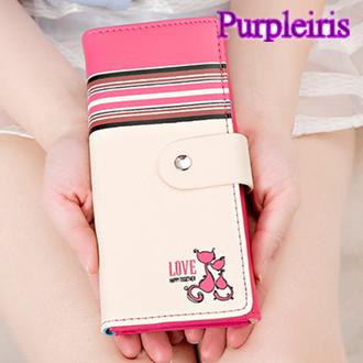 ~鳶尾紫~女士錢包 LOVE可愛情侶貓 簡約 長夾 手包 錢夾