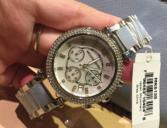美國Outlet 正品代購 Michael Kors MK 三環 淺藍精鋼 滿鑽 手錶 腕錶 MK6138 8
