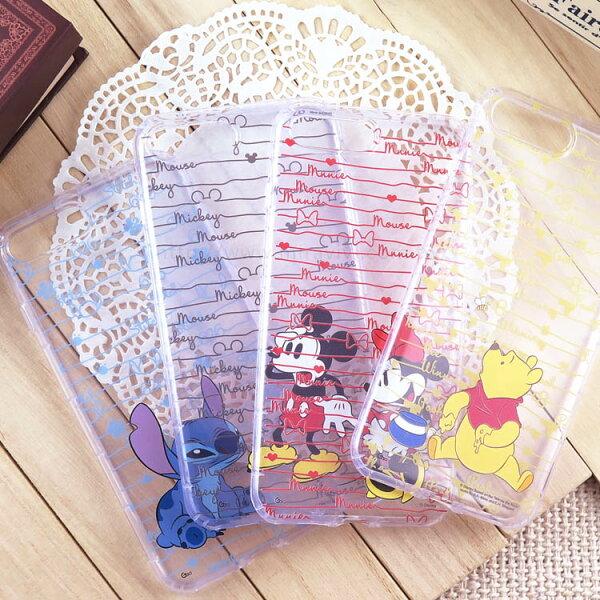 【Disney】迪士尼iPhone7Plus手繪條紋系列5.5防摔氣墊空壓保護套_米奇米妮維尼史迪奇
