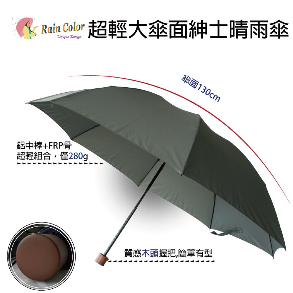(輕量反向傘) 超輕大傘面紳士晴雨傘《2色》【RainColor】 1