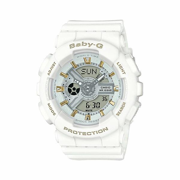 CASIO BABY-G BA-110GA-7A1潮流白雙顯流行腕錶/43.4mm
