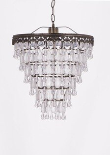 古銅色透明壓克力珠鐵框吊燈-BNL00033