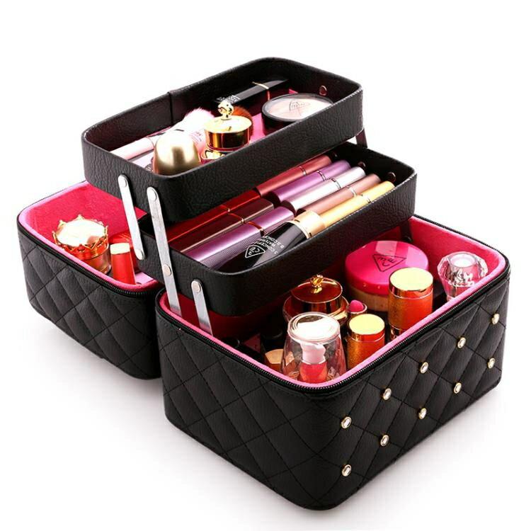 收納包大容量化妝包可愛小號方品中袋隨身便攜手提收納盒簡約化妝箱創時代3C 交換禮物 送禮
