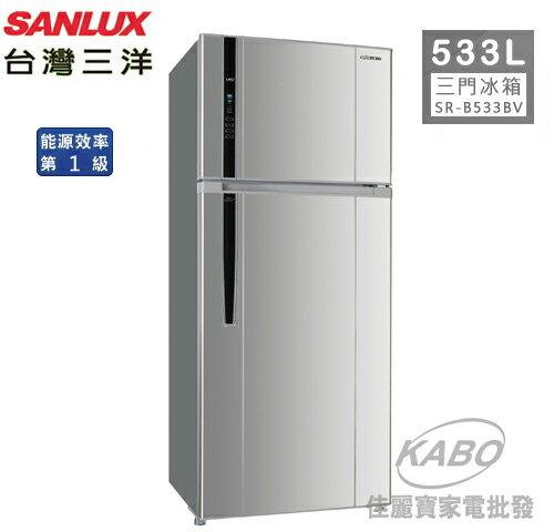 【佳麗寶】-(台灣三洋SANLUX)533公升觸控面板變頻雙門冰箱 /SR-B533BV