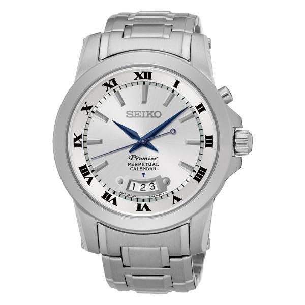 SeikoPremier6A32-00X0J(SNQ145J1)萬年曆經典羅馬石英腕錶白面41mm