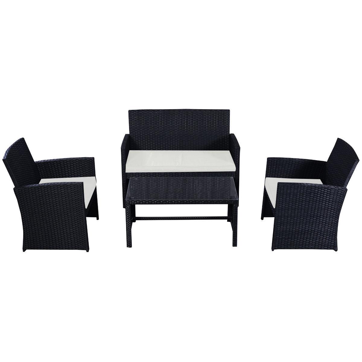 Costway 4 Pc Rattan Patio Furniture Set Garden Lawn Sofa Wicker Cushioned Seat Black 4