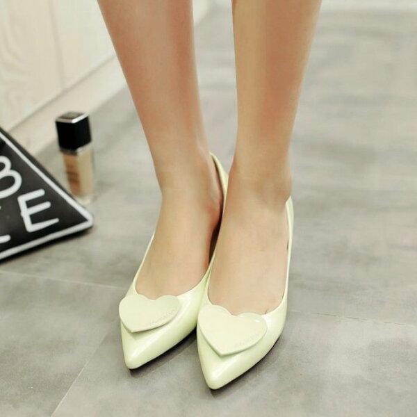 Pyf♥韓版立體同色愛心尖頭鞋甜美細跟鞋漆皮低跟工作鞋CDTS加大48大尺碼女鞋