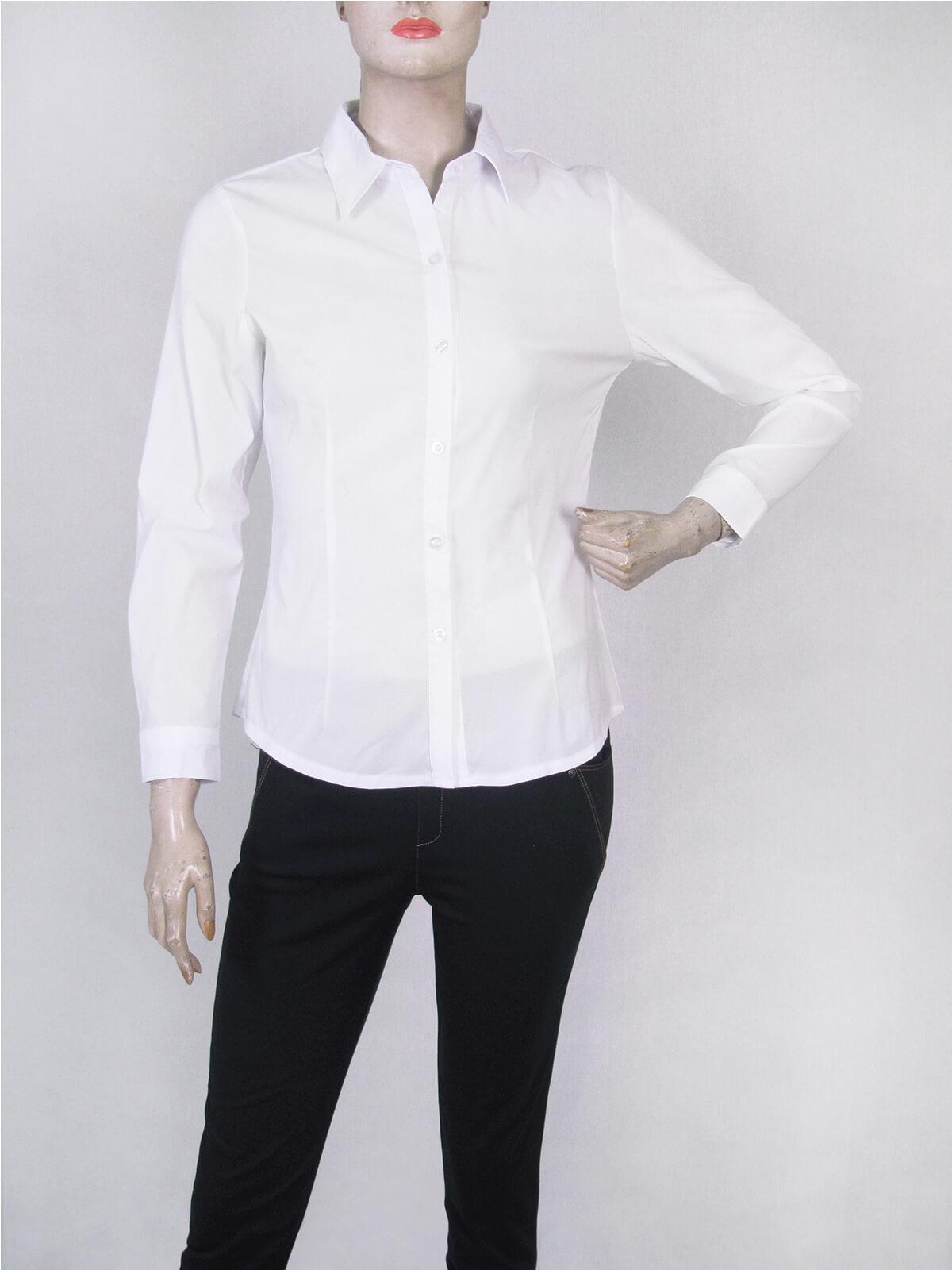 腰身剪裁淑女素面襯衫 修身長袖襯衫 合身顯瘦標準襯衫 正式襯衫 面試襯衫 上班族襯衫 商務襯衫 防曬襯衫 (333-A261-01)素面白色襯衫、(333-A261-21)素面黑色襯衫 胸圍32~50英吋 [實體店面保障] sun-e333 1