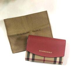 美國百分百【全新真品】Burberry 皮夾 短夾 零錢包 名片夾 格紋 真皮 精品 專櫃 logo 粉紅色 J738