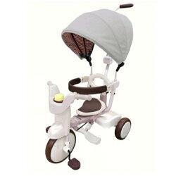 【淘氣寶寶】【日本iimo遮陽款】日本iimo #02兒童三輪車(折疊款-白色)【保證公司貨】