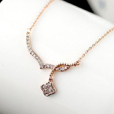 純銀項鍊鍍18K金鑲鑽吊墜~優雅閃亮 情人節生日 女飾品73dn56~ ~~米蘭 ~
