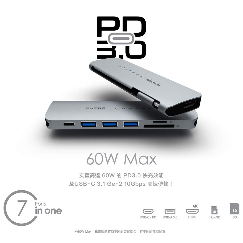 ONPRO ARK07 7in1 Type-C HUB 7合1 多功能 集線器 11mm HDMI 4K
