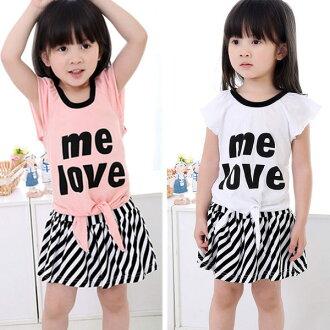 短袖套裝 短袖上衣+條紋短裙套裝 AL0448